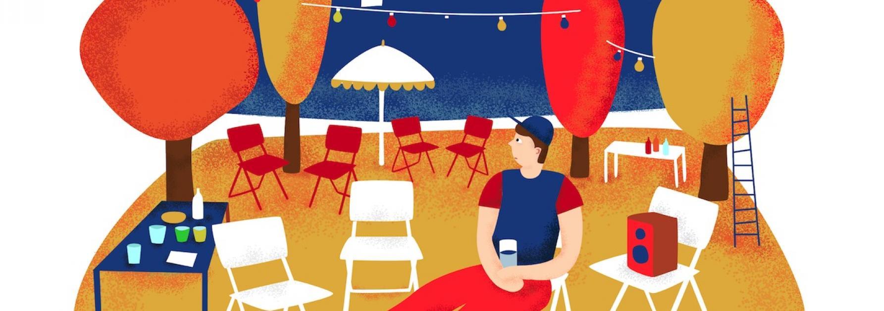 Illustratie van een man op een buurtfeest
